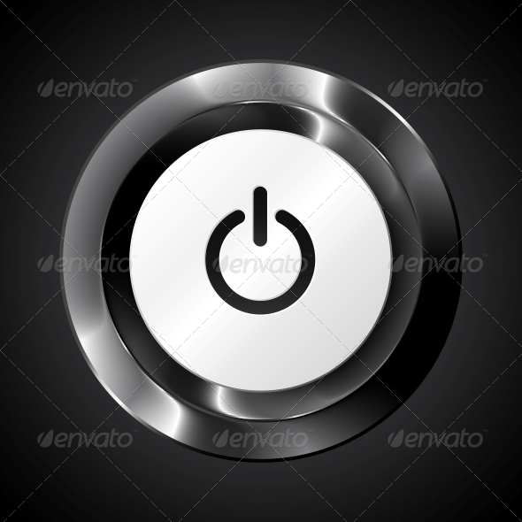 Black Metallic Vector Power Button - Media Technology