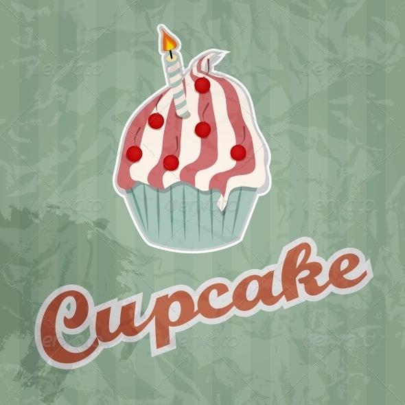 Cupcake Retro Background  - Birthdays Seasons/Holidays