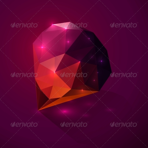 Shining Dark Pink Vector Crystal - Man-made Objects Objects