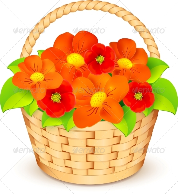 Vector Basket with Flowers - Flowers & Plants Nature