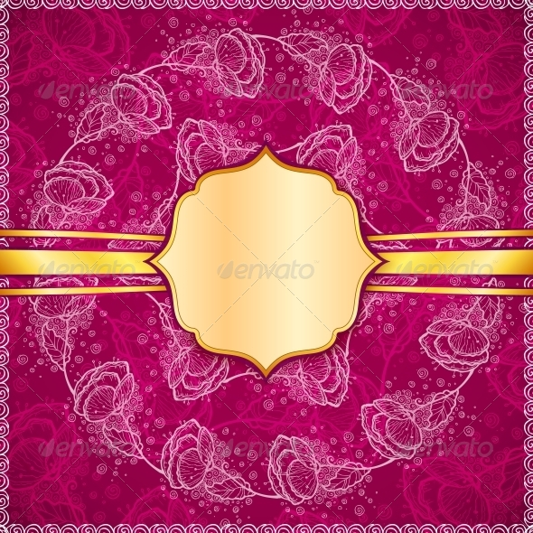 Burgundy Vector Flowers Ornate Background - Borders Decorative
