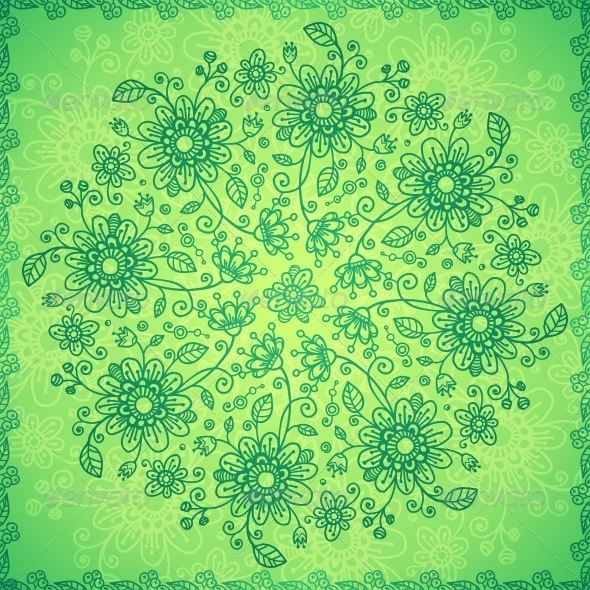 Green Doodle Flowers Vector Background - Flowers & Plants Nature