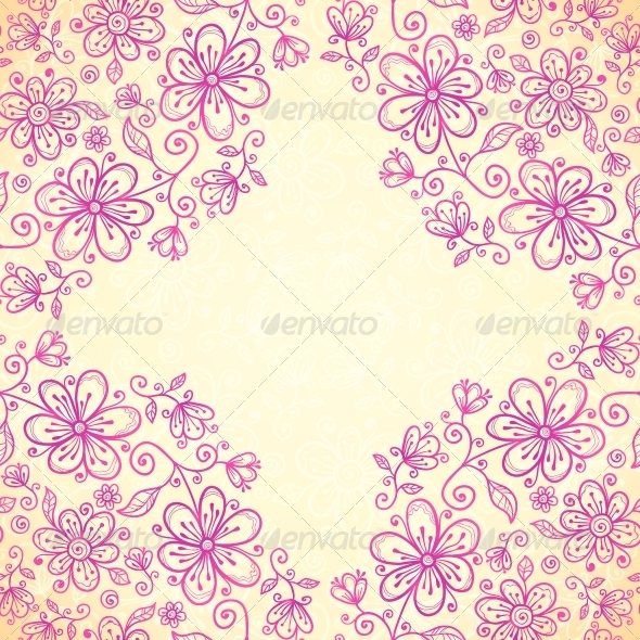 Pink Doodle Vintage Flowers Vector Background - Flowers & Plants Nature