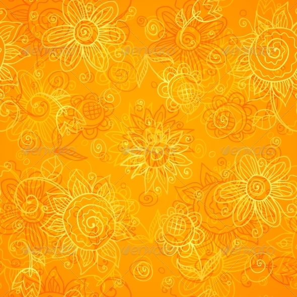 Orange Floral Bright Vector Seamless Pattern - Patterns Decorative