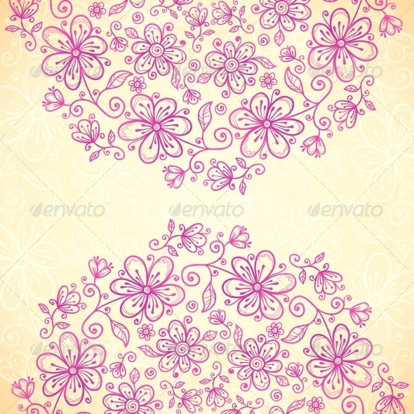 Pink Doodle Vintage Flowers Circles Background - Flowers & Plants Nature