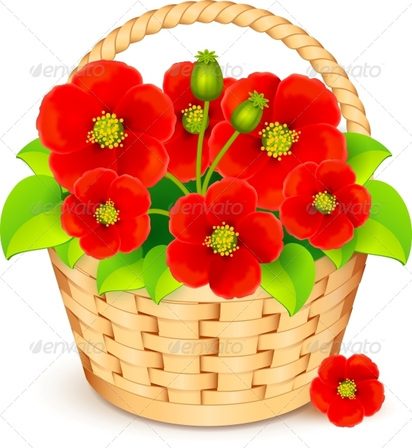 Vector Basket with Red Flowers - Flowers & Plants Nature