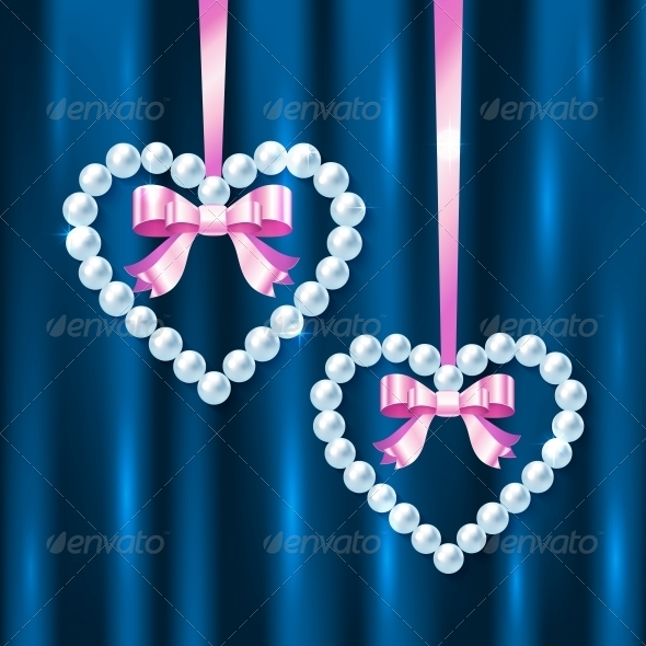 Pearl Hearts with Pink Ribbons and Bows - Valentines Seasons/Holidays