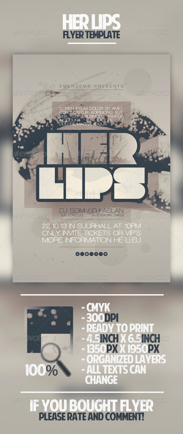 Her Lips Flyer Template - Clubs & Parties Events