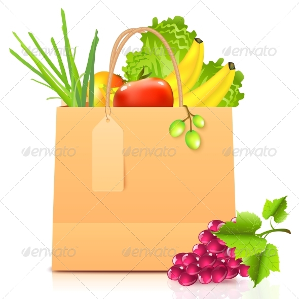 Vector Isolated Paper Bag with Vegetables - Retail Commercial / Shopping