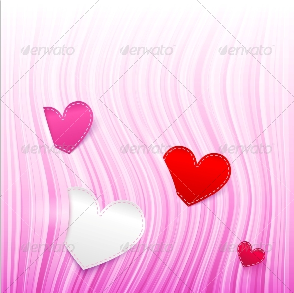 Vector Pink Wavy Valentine's Day Background - Valentines Seasons/Holidays