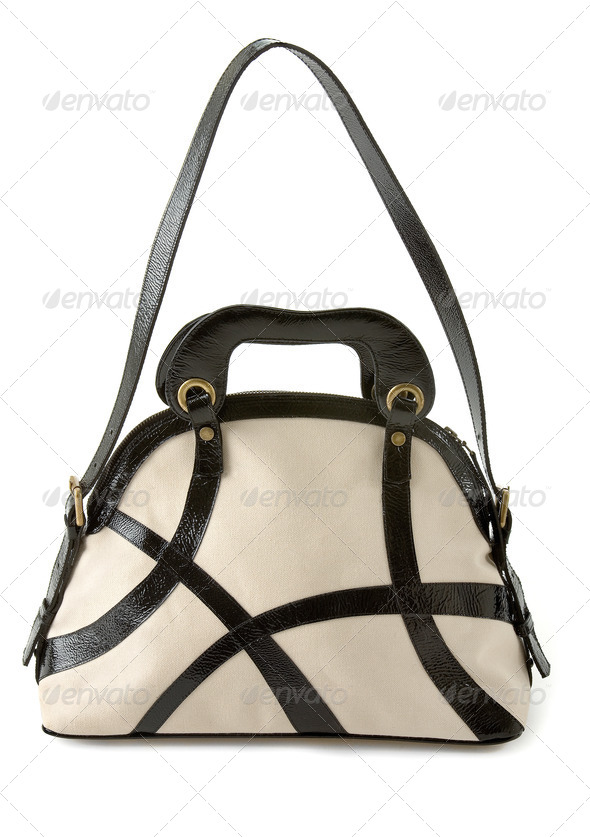 Black and white patent leather straps tote - Stock Photo - Images