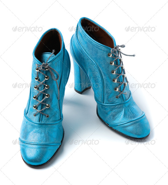 Sky blue metallized leather high heels booties - Stock Photo - Images