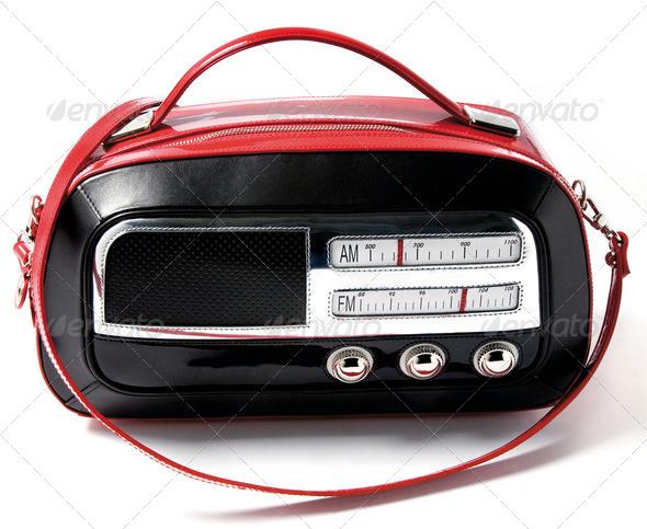 Vintage radio imitation bicolor leather purse - Stock Photo - Images