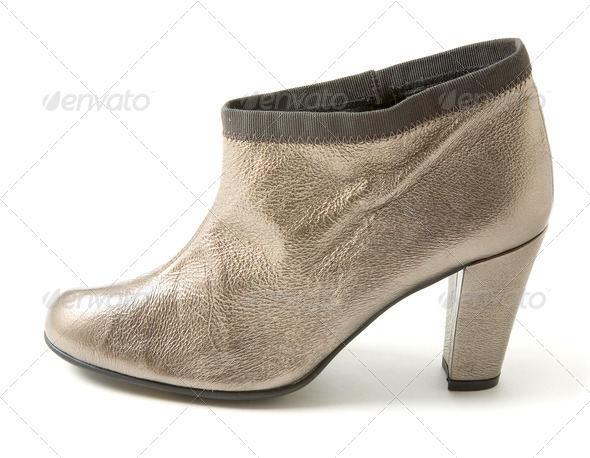 Silver leather high heeled bootie - Stock Photo - Images