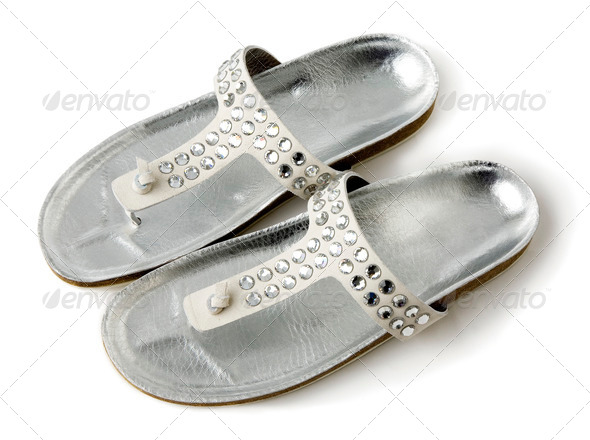 Carved crystals silver flip flop sandals - Stock Photo - Images