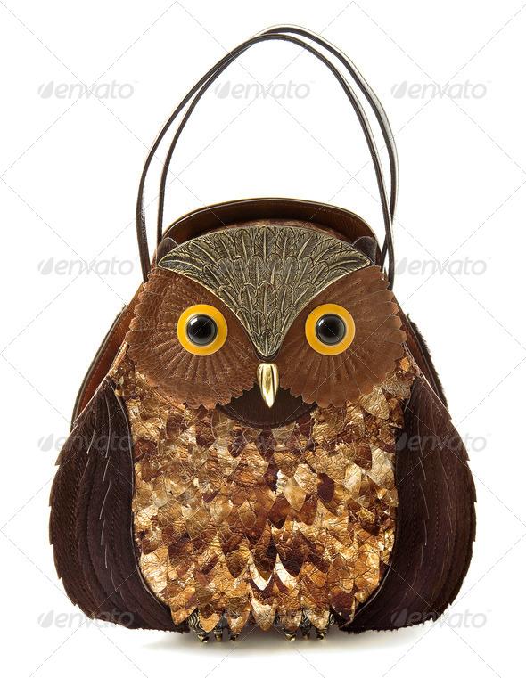 Owl imitation leather tote - Stock Photo - Images