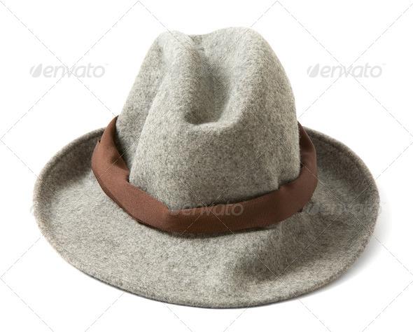 Grey felt fedora with brown hatband - Stock Photo - Images