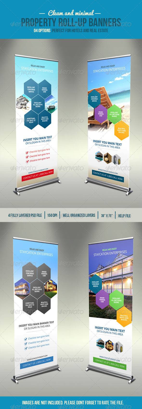 Hexa Property Roll-Up Banner - Signage Print Templates