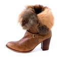 Leather wood and fur elegant bootie