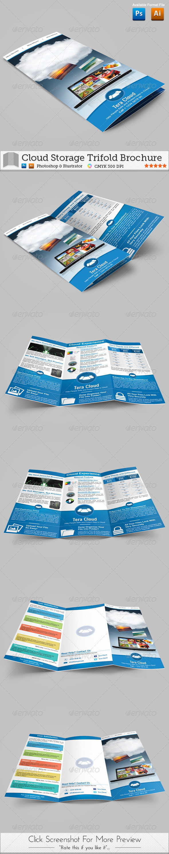 Cloud Storage Trifold Brochure - Brochures Print Templates
