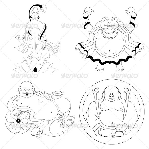 Buddha Religious Vector Designs Pack - Religion Conceptual