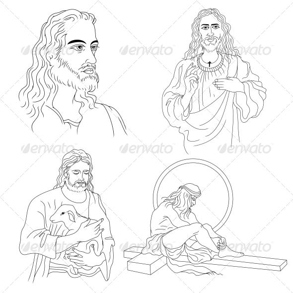 Jesus Christ Religious Vector Designs Pack - Religion Conceptual