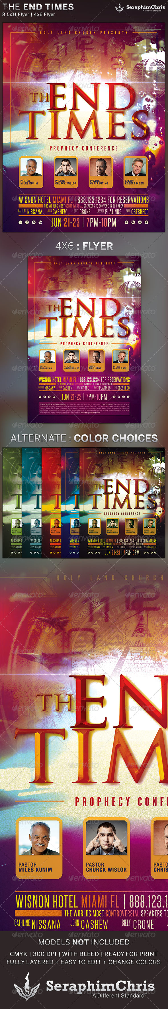 The End Times: Prophecy Conference Flyer Template - Church Flyers
