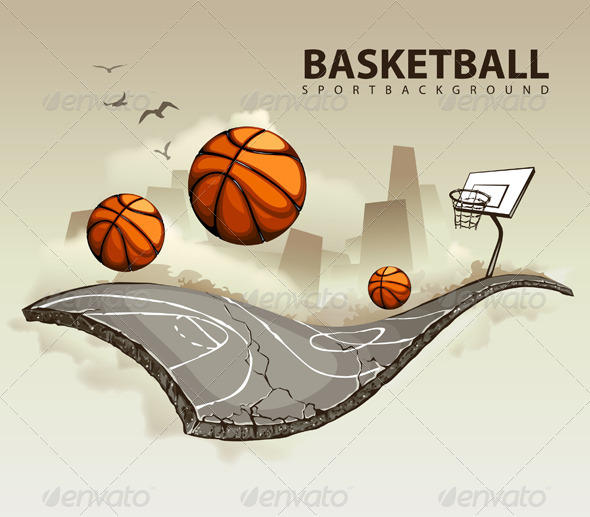 Vector illustration of surreal basketball court - Vectors