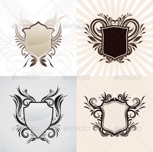 Shield Decorative Ornament Set - Decorative Symbols Decorative
