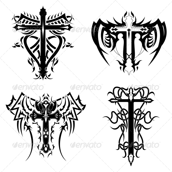 Christian Religious Symbol Tribal Cross Pack - Religion Conceptual
