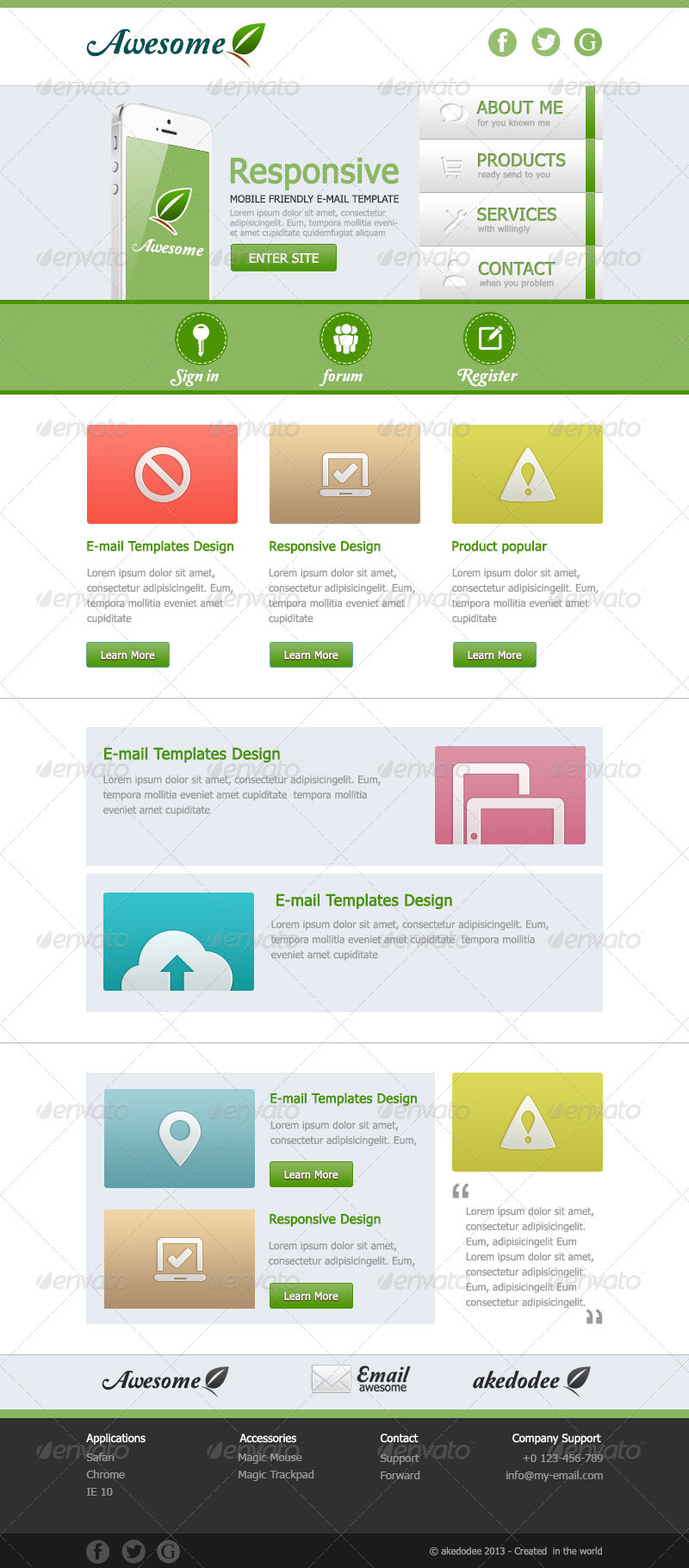 Awesome e mail template design vol 1 by akedodee for Mail designer pro templates