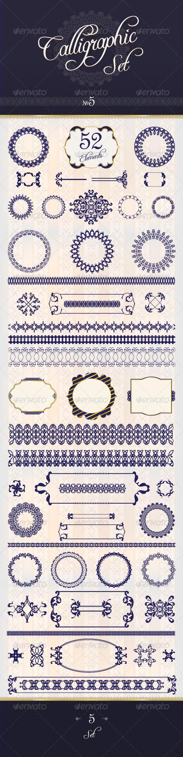 Large Calligraphy Qet 5 - Flourishes / Swirls Decorative