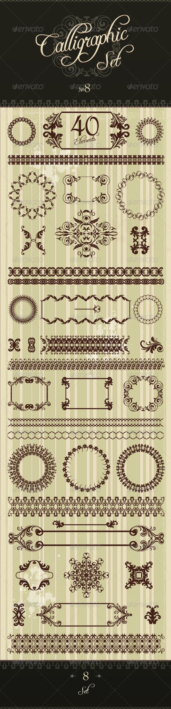 Premium Calligraphic Design Set 8 - Flourishes / Swirls Decorative