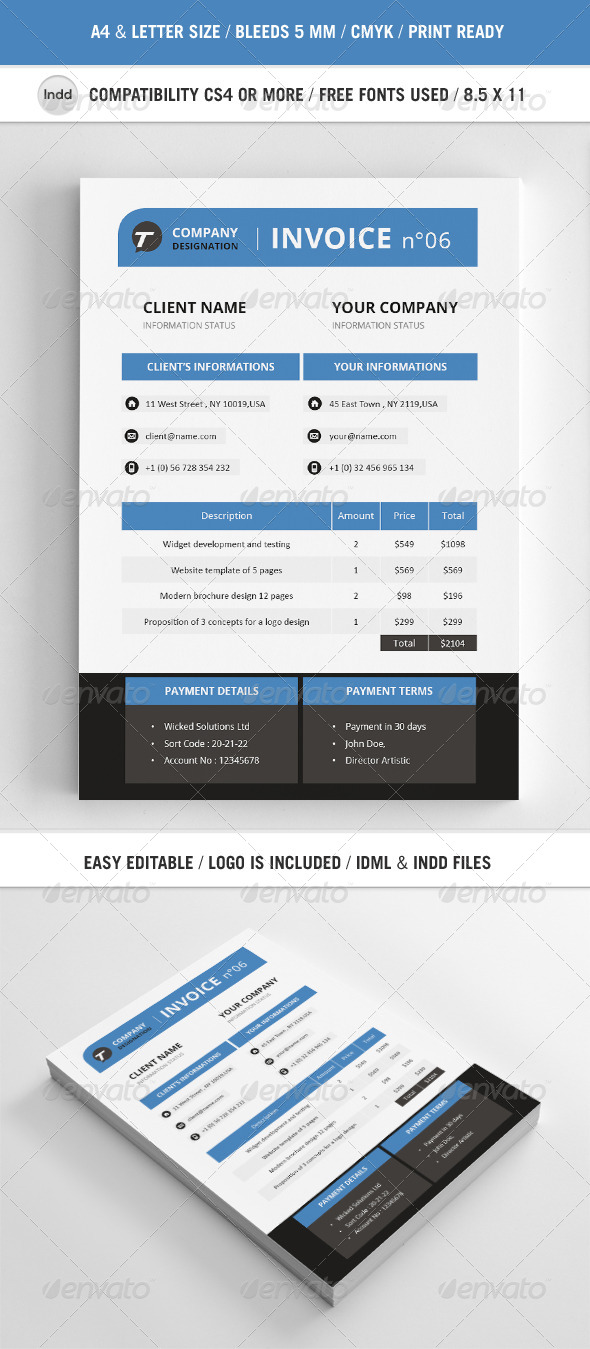 Professional Invoice Template A4 - Proposals & Invoices Stationery