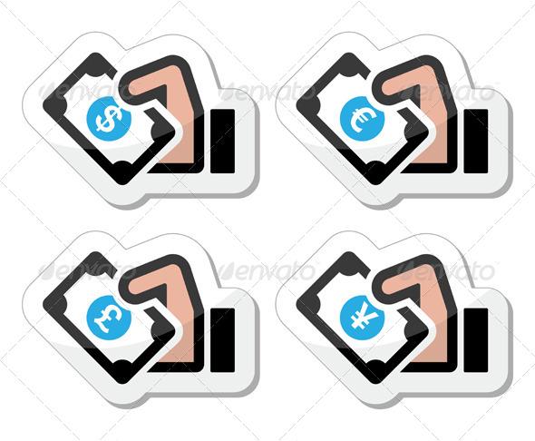 Hand with Money Icon - Dollar, Euro, Yen, Pound - Retail Commercial / Shopping