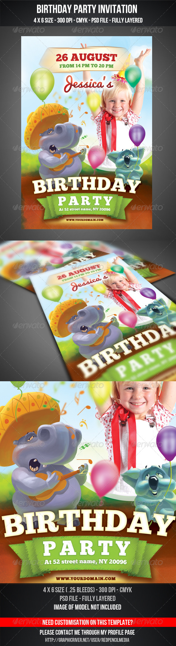 Birthday Party Invitation Flyer - Flyers Print Templates