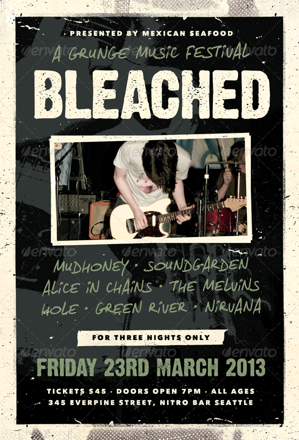 Bleached - Grunge Flyer Template - Concerts Events