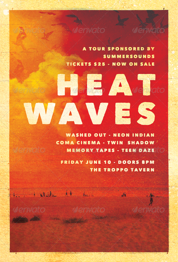 Heat Waves - Summer Flyer Template - Clubs & Parties Events
