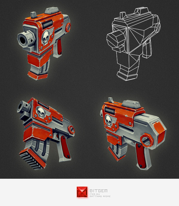 Low Poly Gun 03 - 3DOcean Item for Sale