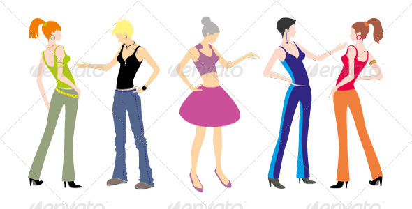 5 Young Girls Standing. Characters - People Characters