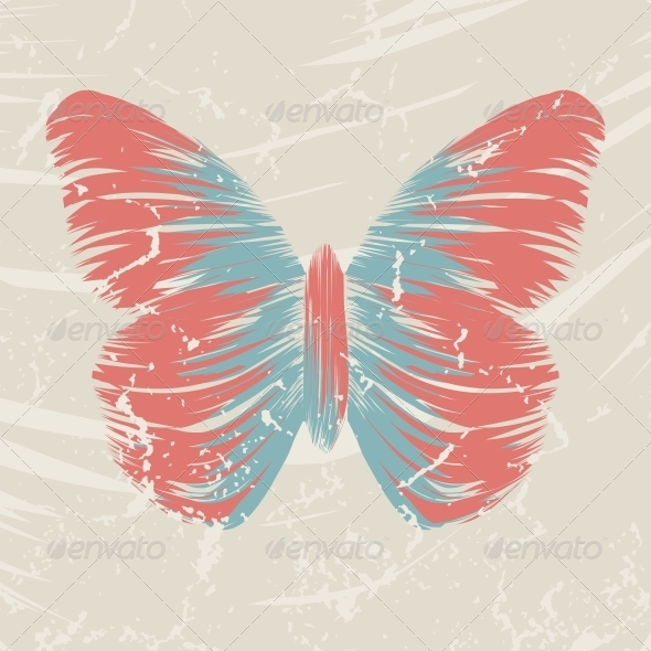 Retro Butterfly on Old Background - Animals Characters