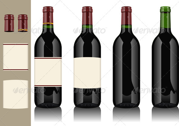 Four Wine Bottles on Withe Background - Food Objects