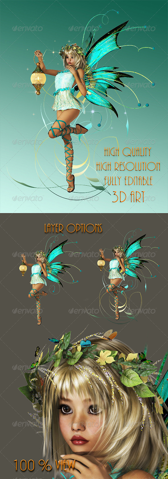 Turquoise Pixie - Illustrations Graphics