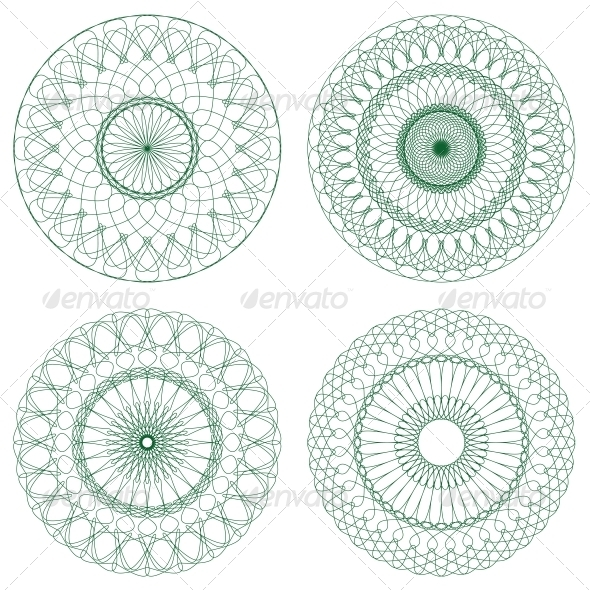 Set of Vector Guilloche Rosettes - Decorative Symbols Decorative