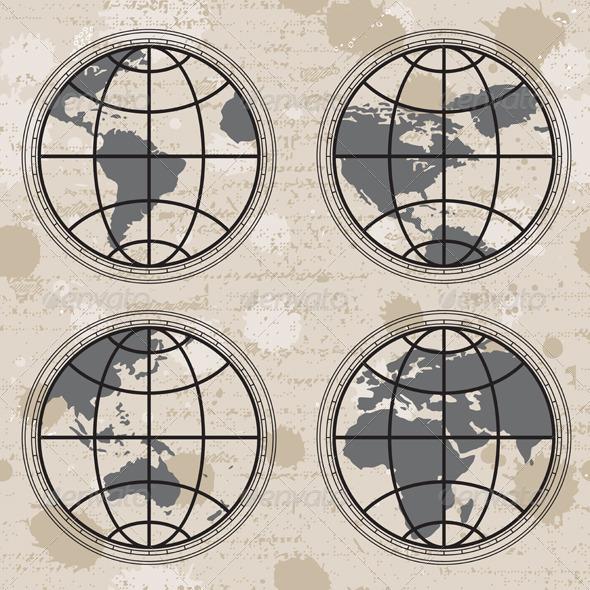 Retro Globes - Patterns Decorative