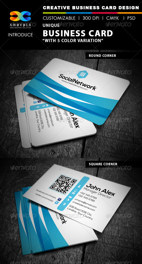 Blue Business Card by -axnorpix | GraphicRiver
