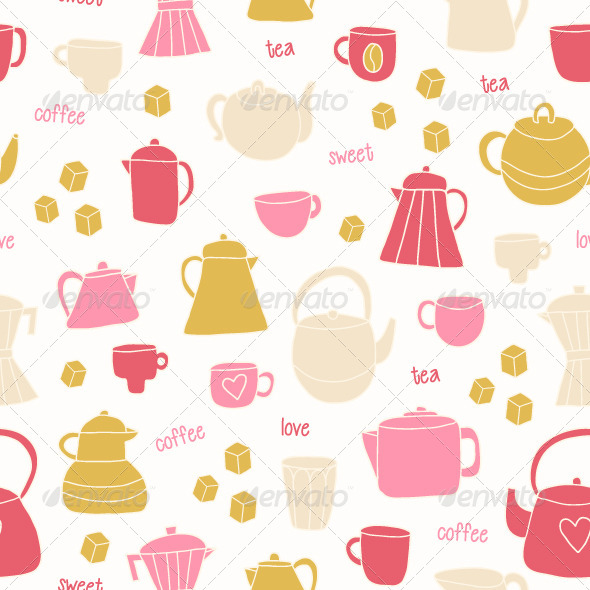 Tea and Coffee Seamless Pattern - Patterns Decorative
