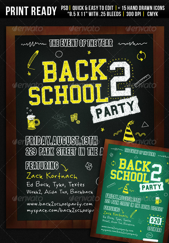Back 2 School Party - Flyer By Wanderingfolks | Graphicriver