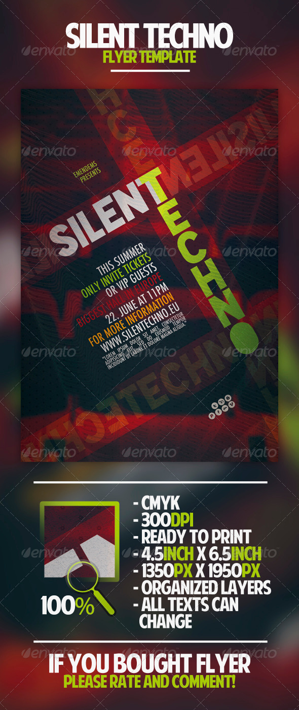 Silent Techno Flyer Template - Clubs & Parties Events