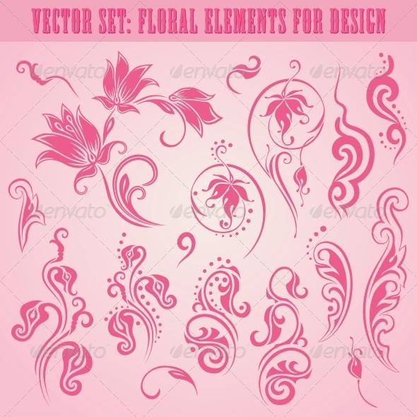 Vector Set of Floral Elements - Patterns Decorative